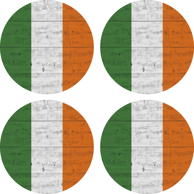 TenStickers. Wooden irish more coasters. Take your caffe and enjoy your time with a little Irish touch coaster, with this more  coasters Wooden irish ! Home delivery!