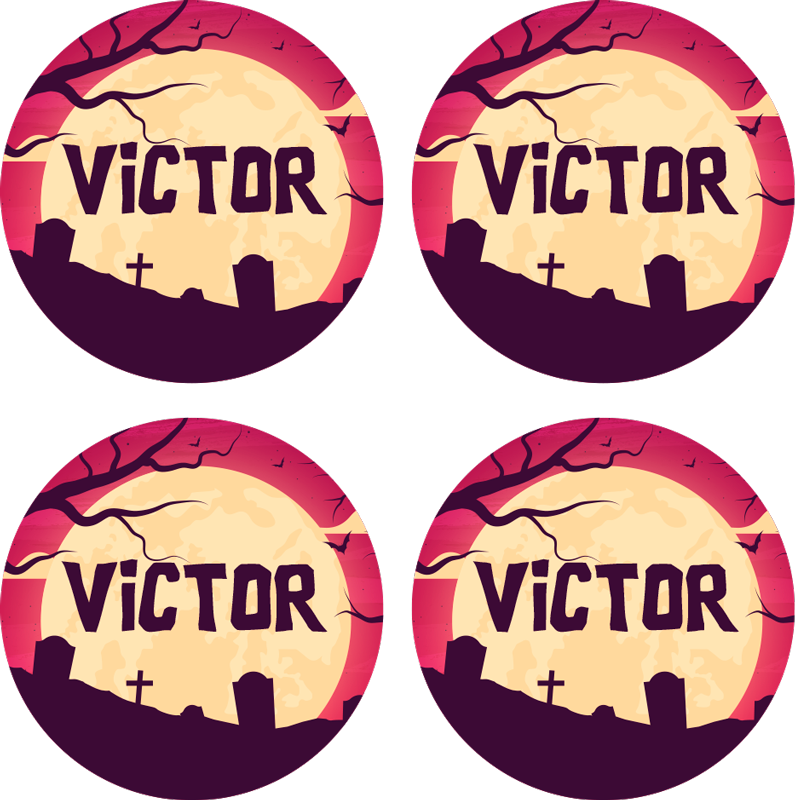 TenStickers. Personalised Halloween coasters. This amazing personalised Halloween coaster design features a dark graveyard and tree which are lit up by the surrounding moon.