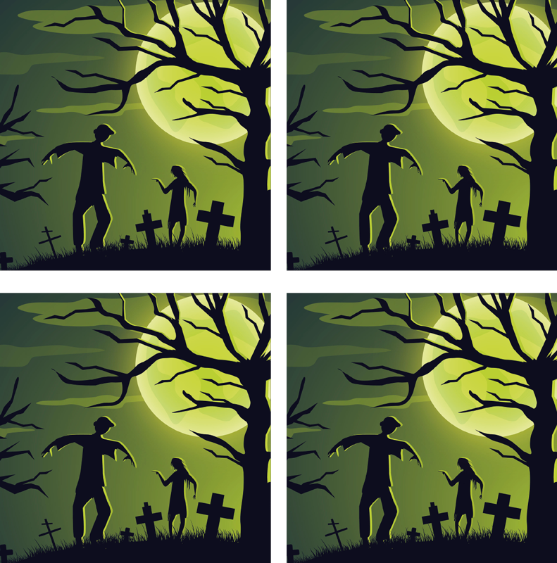 TenStickers. zombies on green background halloween coaster. Beautiful Halloween drink coaster to enjoy drinks with friends and family. The design depict zombies from the graves. Easy to maintain.