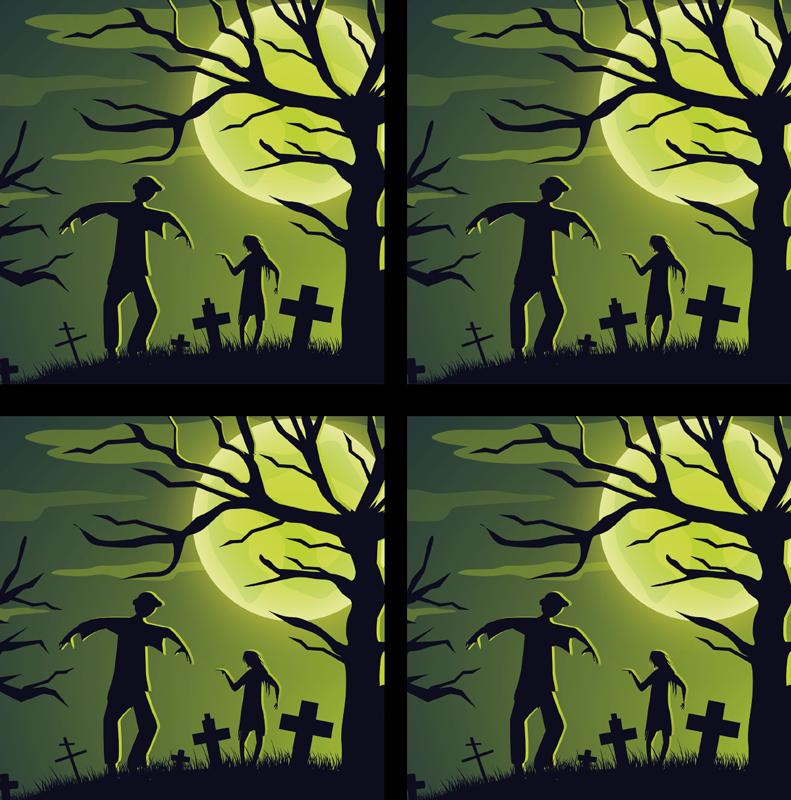 TenStickers. зомби на зеленом фоне хэллоуин каботажное судно. красивые подставки для напитков на Хэллоуин, чтобы наслаждаться напитками с друзьями и семьей. На дизайне изображены зомби из могил. проста в обслуживании.
