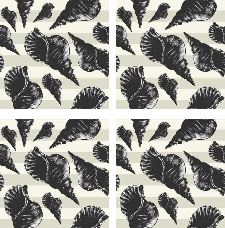 TenStickers. Black vintage  seashell coasters. Sea coaster set which features an image of hand drawn seashells on a striped grey background. +10,000 satisfied customers.