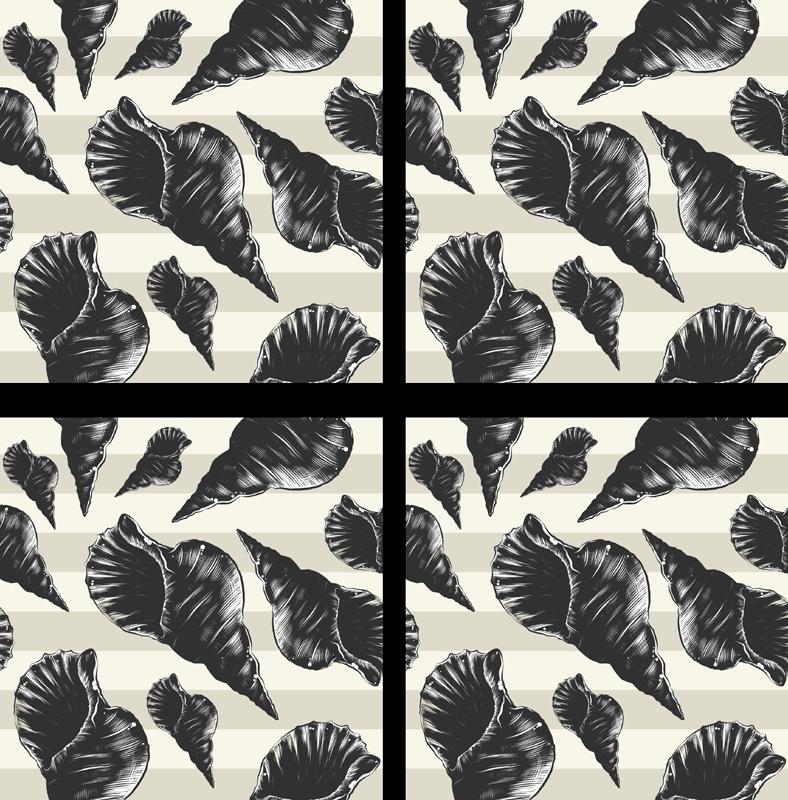 TenVinilo. Posavasos de concha vintage negro. Posavasos que presenta una imagen de conchas marinas dibujadas a mano sobre un fondo gris a rayas ¡Envío exprés a domicilio!