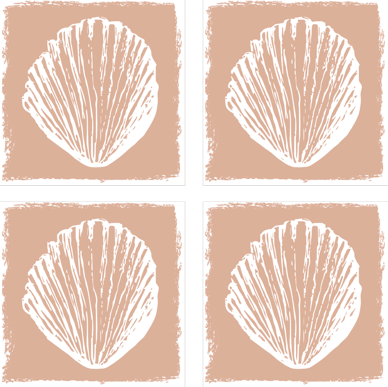 TenStickers. Retro seashell pattern beige seashell coasters. Get your hands on a seashell coaster to compliment your homes decor. Sign up on our website today for 10% off your first order.