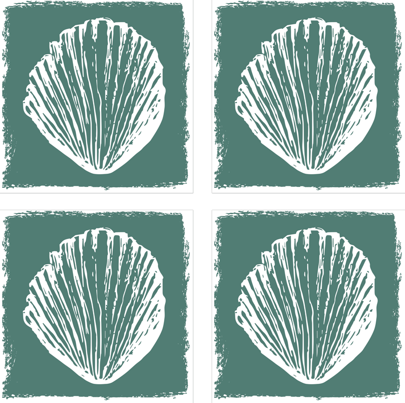 TenStickers. Retro Seashell Pattern seashell coasters. An amazing shell coaster design of different hand drawn shells in a sepia background that will look stunning on your dining table.