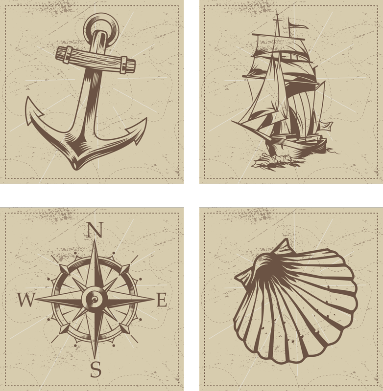 TenStickers. Vintage Sea Objects seashell coasters. Seashell coaster set which features various images of objects to do with sea including a compass, anchor and seashell. Sign up for 10% off.