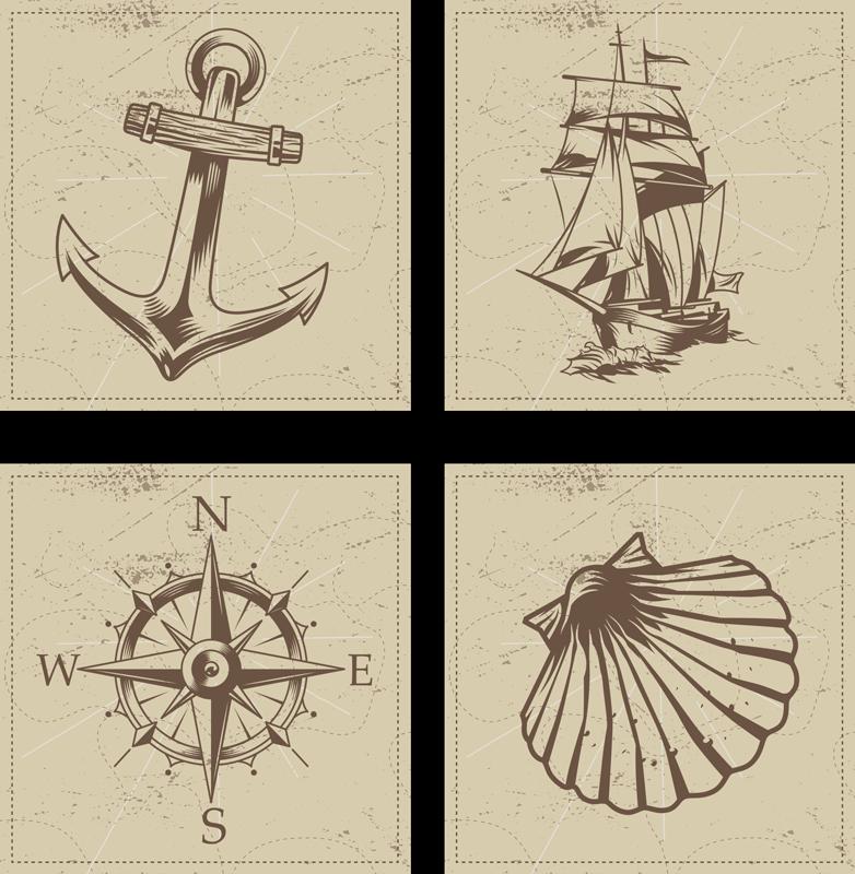 TenStickers. Sottobicchiere vintage Oggetti di mare vintage. Seashell coaster set che presenta varie immagini di oggetti che hanno a che fare con il mare tra cui una bussola, ancora e conchiglia.