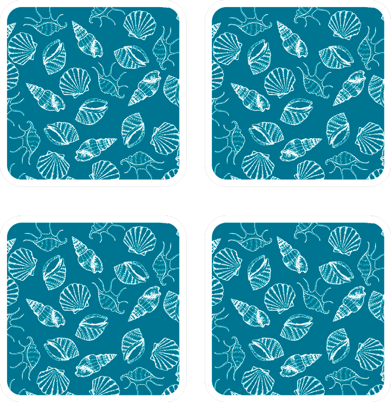 TenStickers. Seashell animals seashell coasters. If you love classic decors and want to give your table a undersea touch, these seashells animals placemats are perfect for you.