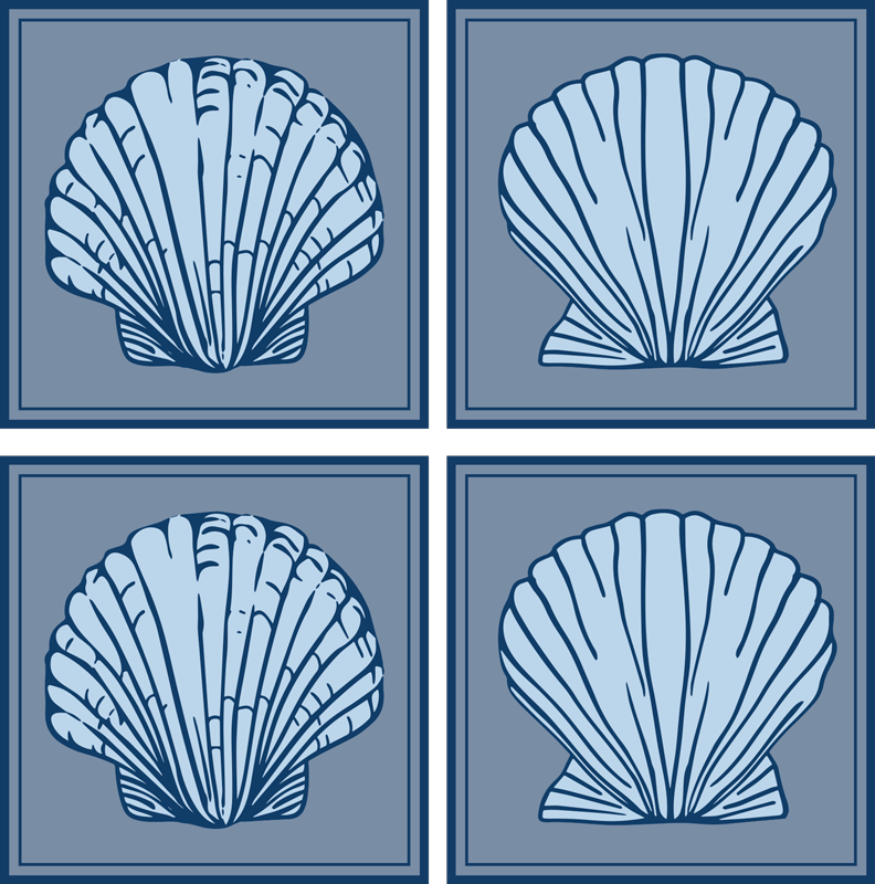 TenStickers. Seashell Blue Tones seashell coasters. If you love classic decors and want to give your table a undersea touch, these seashells blue tones placemats are perfect for you.