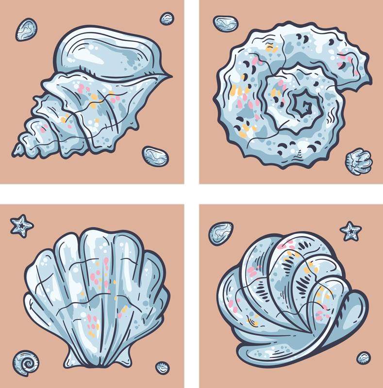 TenStickers. Seashell Sketches seashell coasters. If you love classic decors and want to give your table a undersea touch, these seashells sketches placemats are perfect for you.
