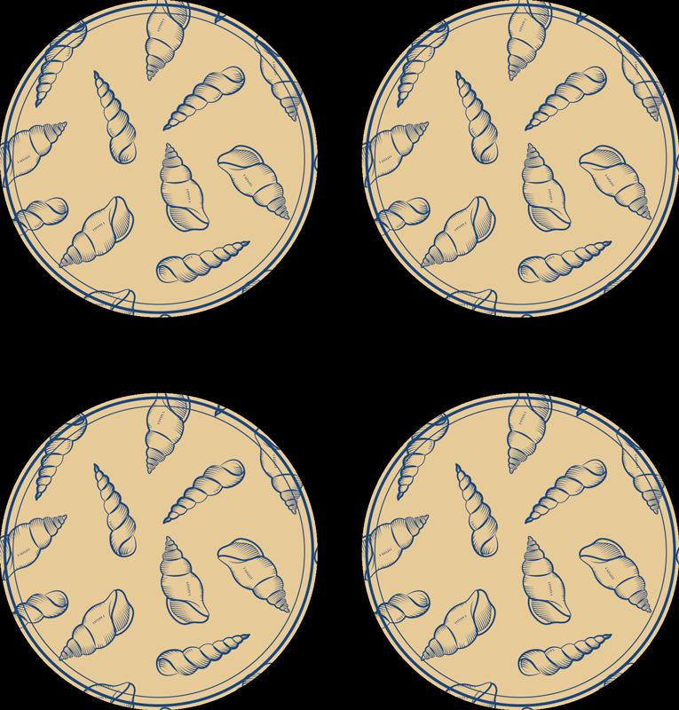 TenStickers. Carreaux de coquillage sous-verres coquillage. Si vous aimez les décors classiques et que vous souhaitez donner une touche sous-marine à votre table, ces sets de table carreaux coquillages sont parfaits pour vous.