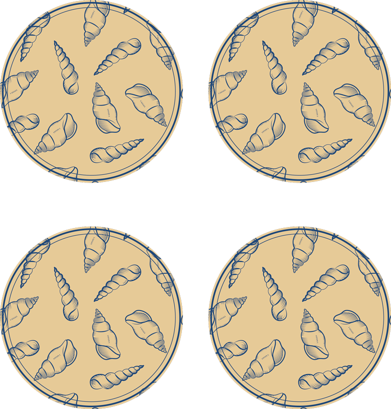 TenStickers. 贝壳瓷砖贝壳杯垫. 如果您喜欢经典装饰,并且想让您的桌子在海底接触,这些贝壳瓷砖餐垫将是您的理想选择。