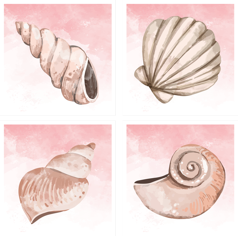 TenStickers. seashells watercolor seashell coasters. If you love classic decors and want to give your table a undersea touch, these seashellswatercolor placemats are perfect for you.