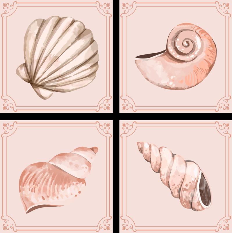 TenStickers. Coquillages coquillage sous-verres. Si vous aimez les décors classiques et souhaitez donner une touche sous-marine à votre table, ces sets de table coquillages sont parfaits pour vous.