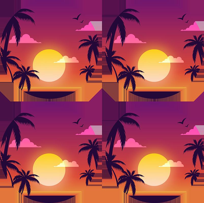 TenStickers. Ensemble de dessous de verre au coucher du soleil des années 70. Un magnifique dessous de verre sur le thème des années 70 avec un coucher de soleil incroyable! Inscrivez-vous sur notre site web aujourd'hui pour 10% de réduction sur votre première commande avec nous.