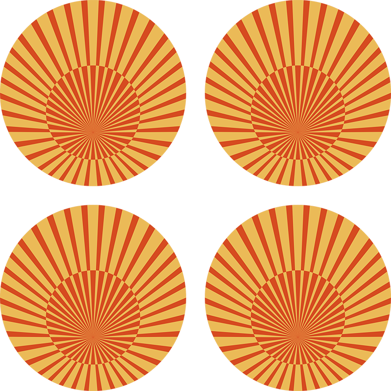 TenStickers. 70's sunshine circle 70s coaster set. An incredible circular 70s inspired vintage coaster to place your drinks on. Sign up today for 10% off your first order.