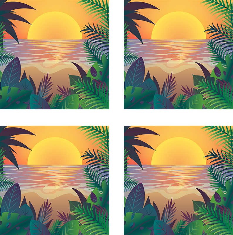TenStickers. Retro sun beach 70s coaster set. An amazing set of 70s themed vinyl coasters that will make all your guests envious. 10% off your first order when you sign up today.