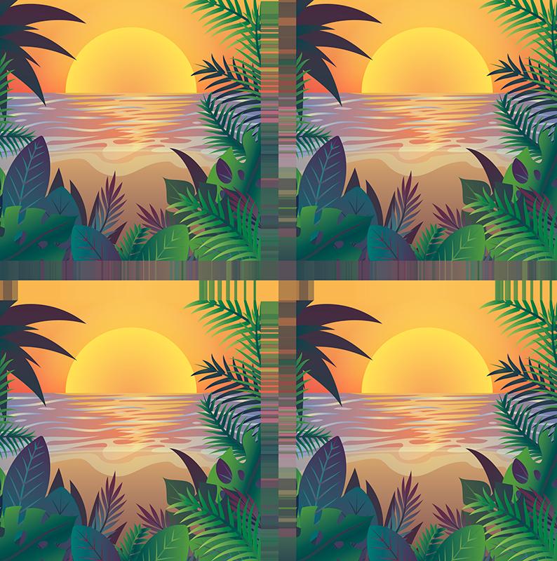 TenStickers. Retro sun beach 70s coaster set. Et forbløffende sæt med vinylunderlag til 70'erne med tema, der vil gøre alle dine gæster misundelige. 10% rabat på din første ordre, når du tilmelder dig i dag.