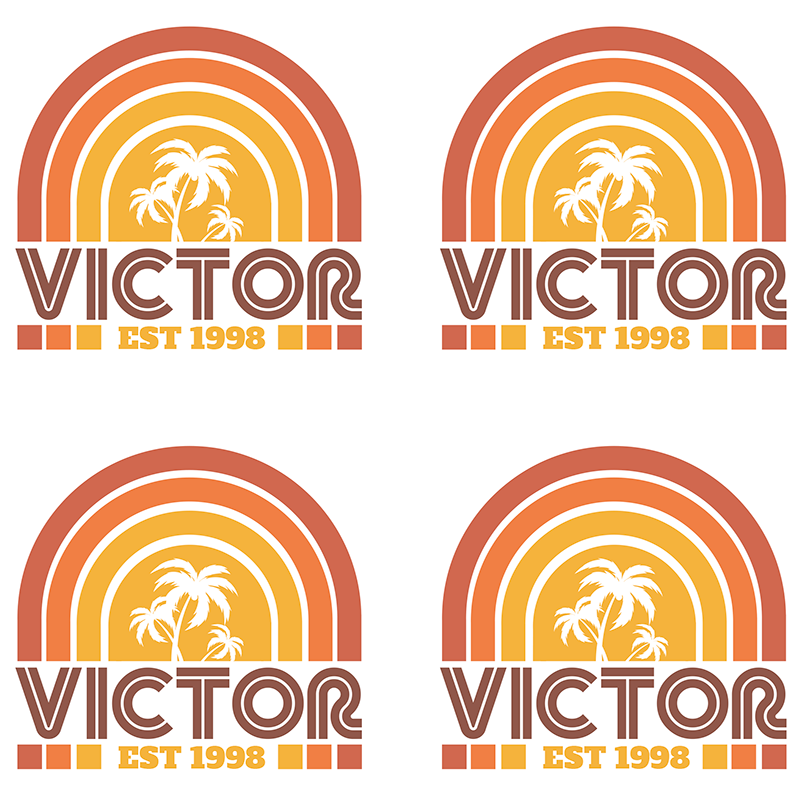TenStickers. Retro Sunset and Palms with name  70s coaster set. Give a unique touch to your table with this palm tree and sunset 70s coaster with customizable name, very durable with the home delivery!