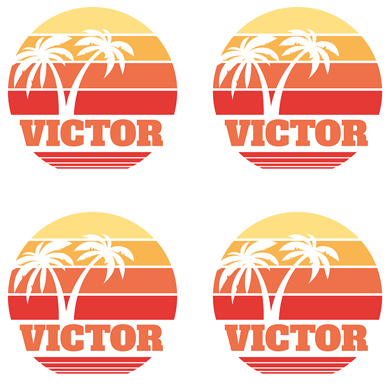 TenStickers. Retro Sunset with your name 70s coaster set. Enhance your table with this palm tree and sunset 70s coaser set with customizable name, a nice design for homes, home delivery!
