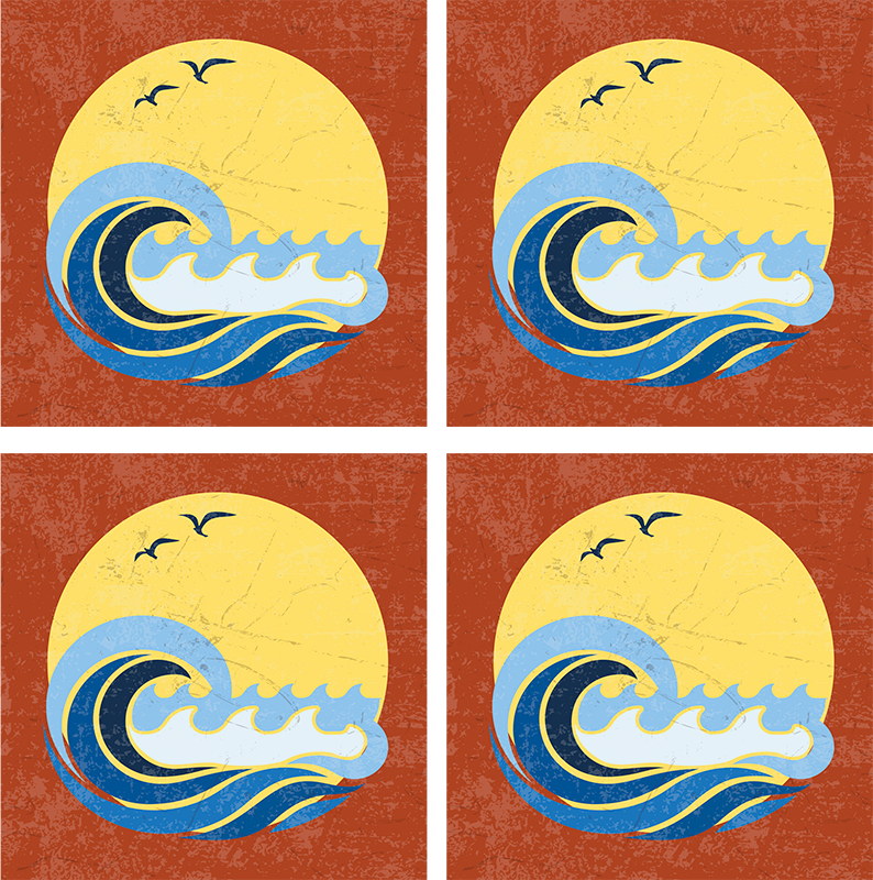 TenVinilo. Posavasos vintage sol de los 70 con ola y aves. El posavasos de los 70 está fabricado con materiales de la mejor calidad del mercado. Fácil de limpiar y lavar, antialérgico y muy duradero.