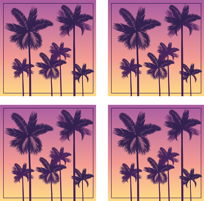 TenStickers. Sunset Palms trees 70s coaster set. A sunset colors palm trees coasters set in a squared shape for your house. Choose the set from 4, 6 and 8 and get it delivered home!