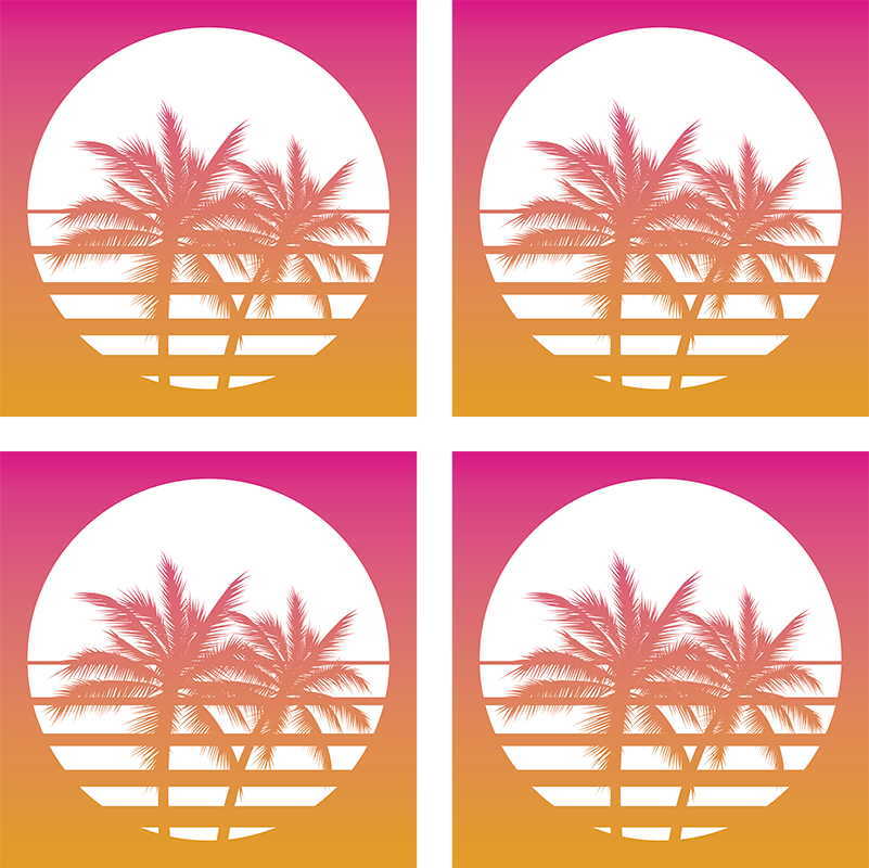 TenStickers. Palm trees on the sun 70s coaster set. Use original palm trees and sun coasters set to protect your furniture from drinks. High quality and resistant product delivered to your house!