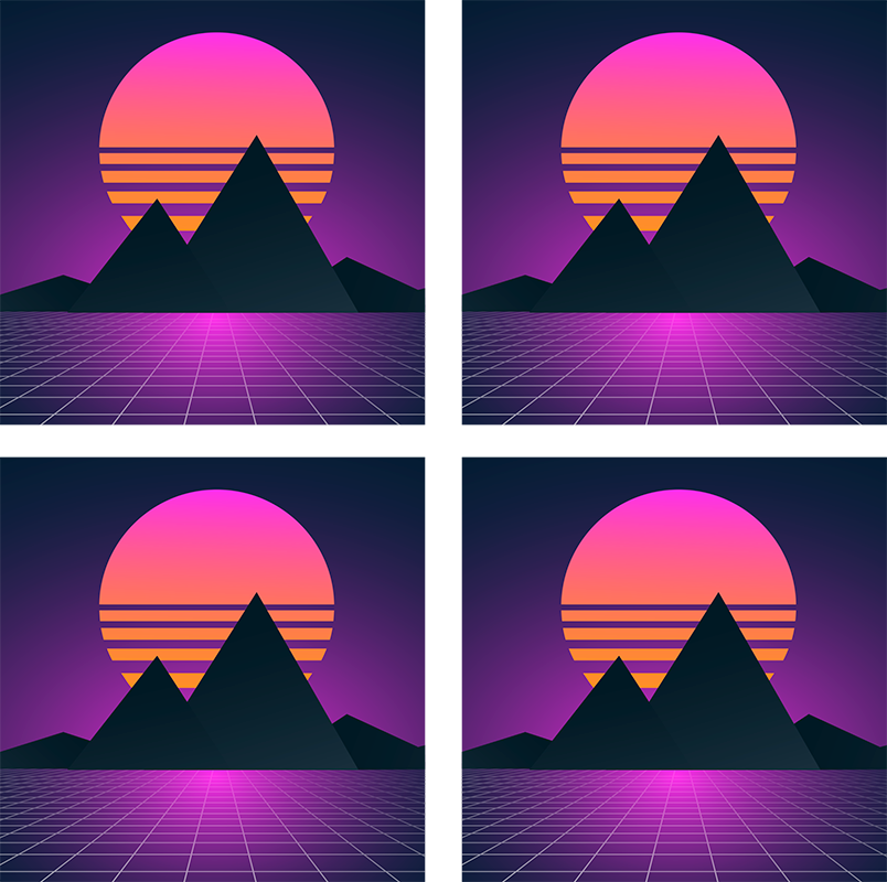 TenStickers. Vintage and retro sun 70s coaster set. Original sun and mountains coasters with 3D effect if you are looking for an unique way to protect your furniture from drinks.