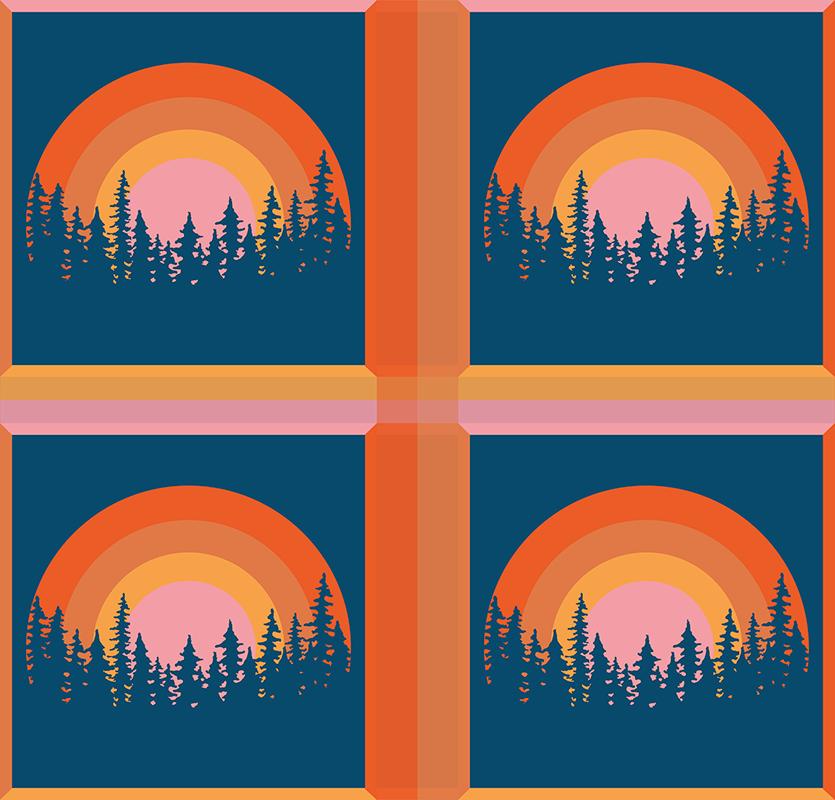 TenStickers. 老式的太阳和树木70年代杯垫套. 原始设计,以防止混乱或损坏您的家具。条纹日落和松树过山车,具有3d效果,大小为10x10。