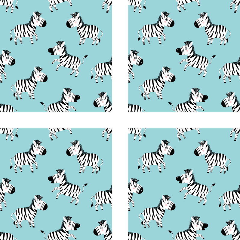 TenStickers. Cute Zebra for Kids zebra coaster. zebra coaster design made with ornamental zebra pattern design on a light blue background.  Add it to your cart now! It's easy to clean!