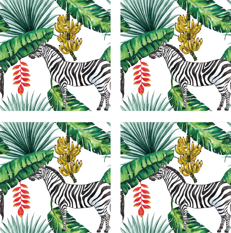 TenStickers. Nature Pattern zebra coaster. An elegant zebra coaster design with realistic paisley to brighten up your days.  Add it to your cart to purchase it online!