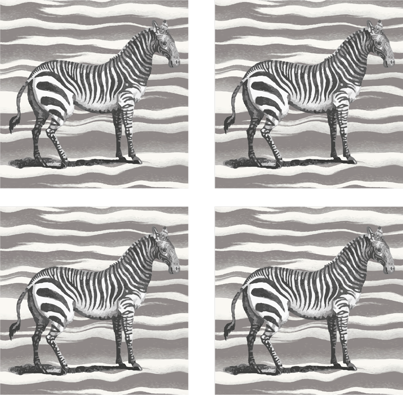 TenStickers. Vintage vintage coaster. Vintage zebra coaster set which features an image of a zebra on a grey and white zebra print background. Discounts available.
