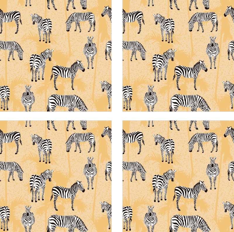 TenStickers. Yellow zebra and palms vintage coaster. Zebra coaster set which  features a pattern of zebras in different positions on a yellow background with palm trees. Extremely long-lasting material.