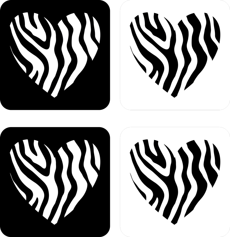 TenStickers. Zebra Print Hearts modern coaster. Zebra print coaster set which  features a heart with a zebra print pattern in the middle. Extremely long-lasting material.