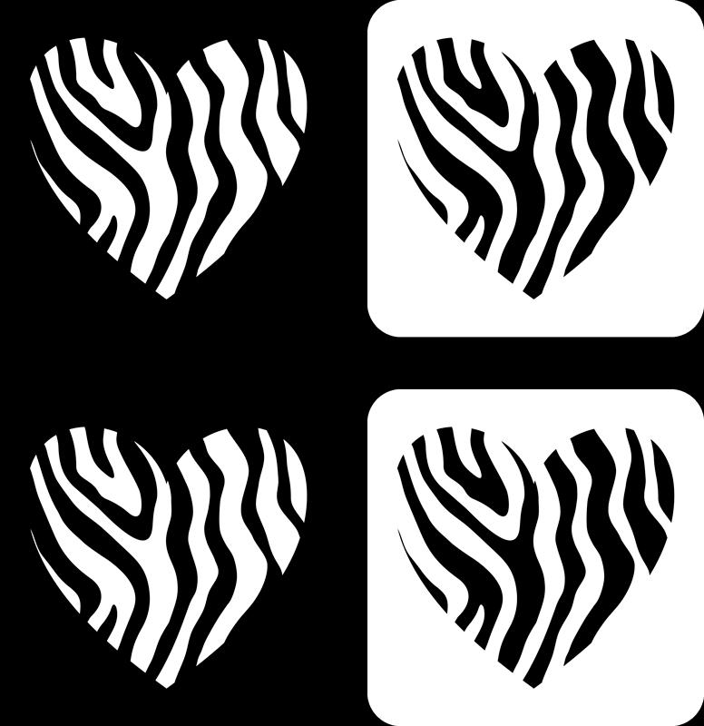 TenStickers. 얼룩말 프린트 하트 모던 코스터. 중앙에 제브라 프린트 패턴이있는 하트가 특징 인 제브라 프린트 코스터 세트. 매우 오래 지속되는 소재.