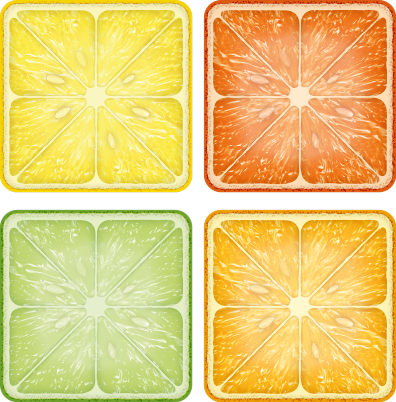 TenStickers. Colourful citrus texture coaster. Citrus drink coaster set which features a different citrus fruit which includes lemons, limes, oranges and grapefruits. Discounts available.