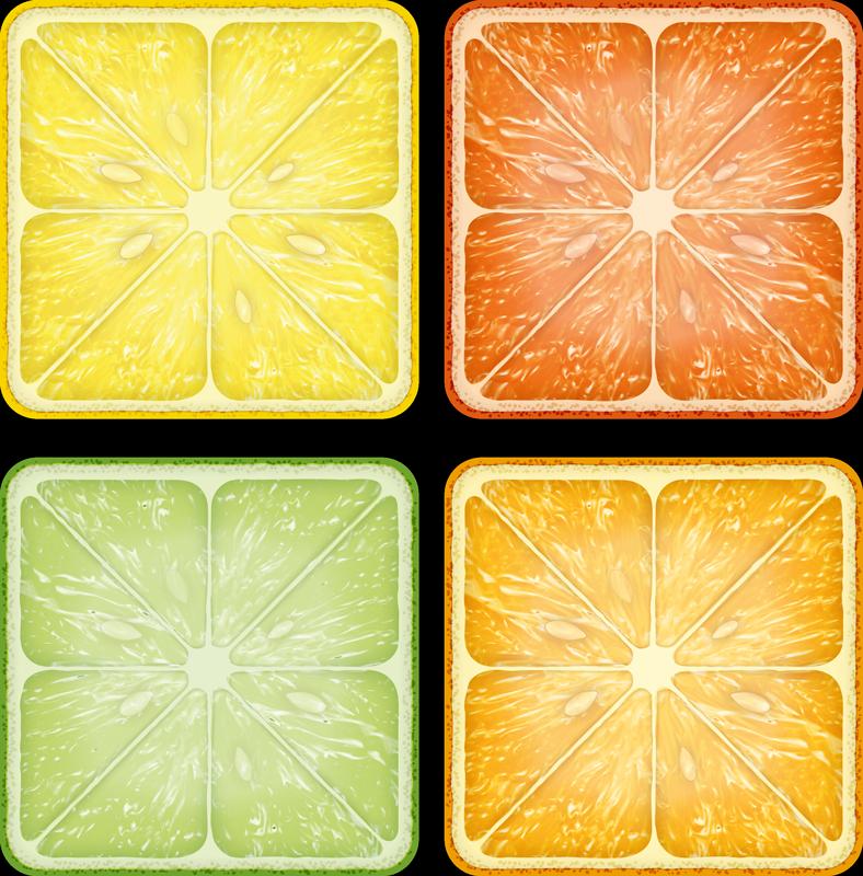 TenStickers. Sottobicchiere  personalizzato testo Agrumi colorati. Set sottobicchiere per bevande agli agrumi che presenta un diverso agrume che include limoni, lime, arance e pompelmi. Sconti disponibili.