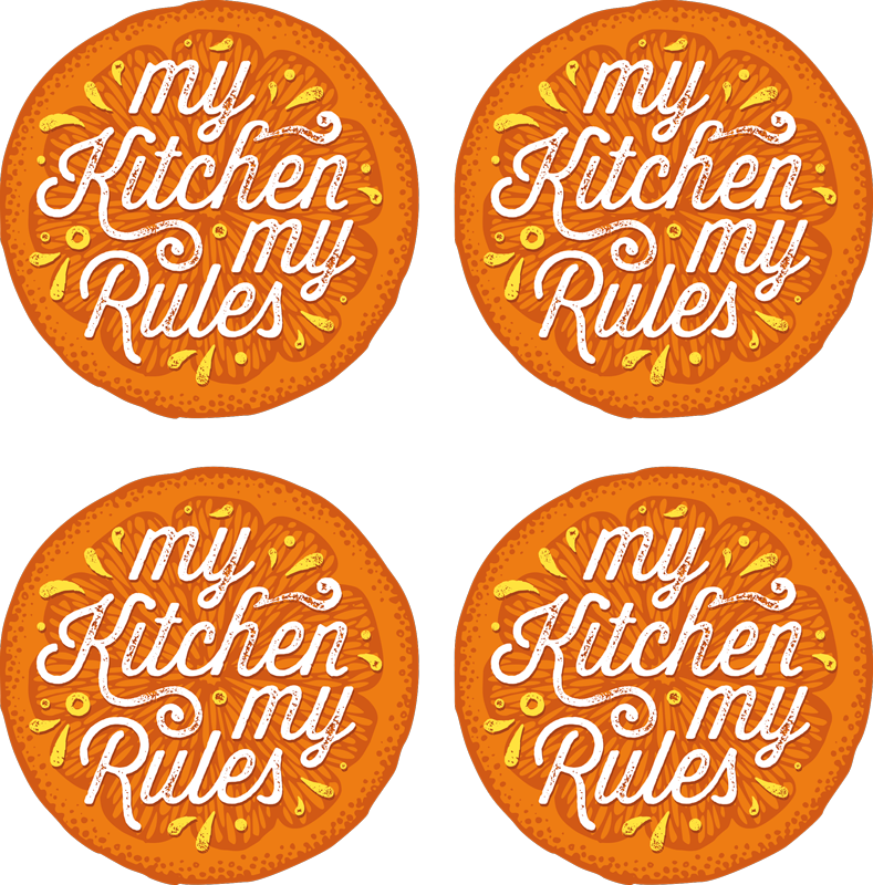 TenStickers. My kitchen, my rules coaster. Orange coaster set which features the text 'my kitchen my rules' coloured in orange and yellow. High quality materials used.