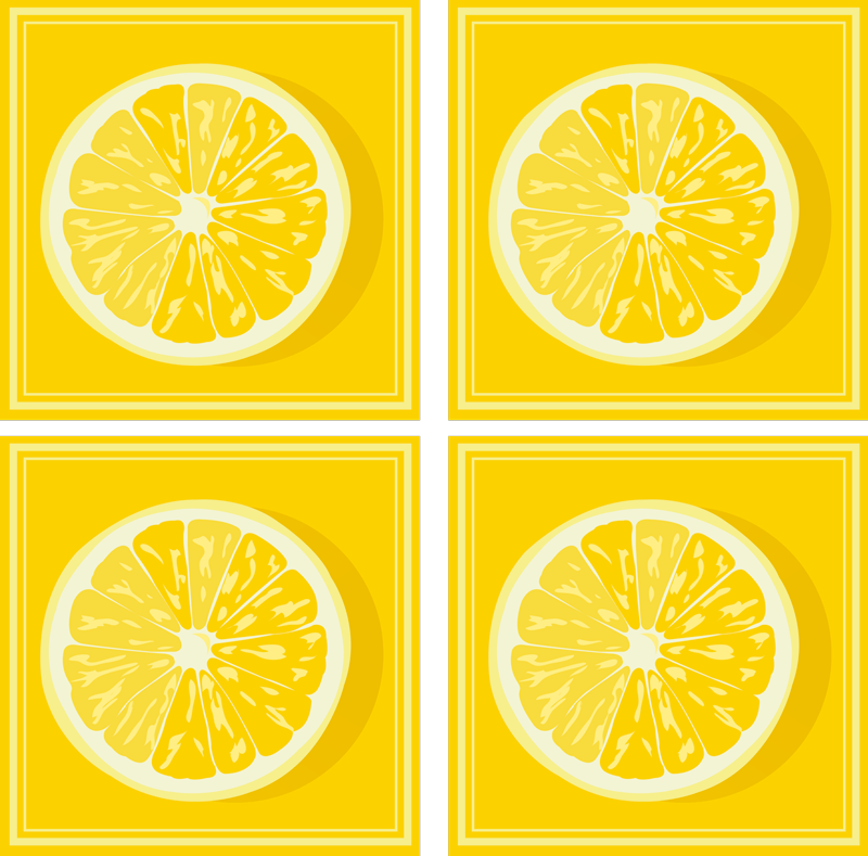 TenStickers. Yellow Lemon Slice citrus coaster. Yellow coaster set which features a set of coasters all coloured in yellow with an image of a slice lemon in the centre.