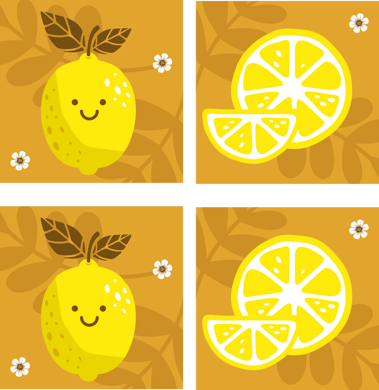 TenStickers. Cartoon Lemons citrus coaster. Lemon coaster set which features a set of coasters with cartoon lemons on them smiling. Extremely long-lasting material.