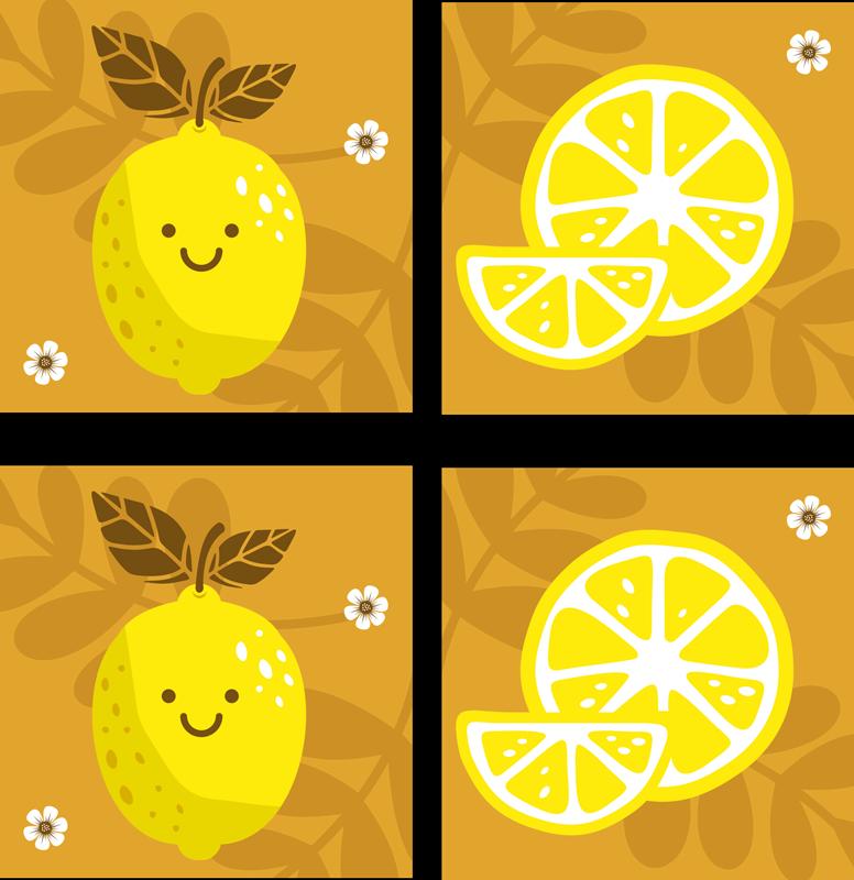 TenStickers. Dessin animé citrons agrumes dessous de verre. Ensemble de sous-verres de citron qui comprend un ensemble de sous-verres avec des citrons de dessin animé sur eux en souriant.