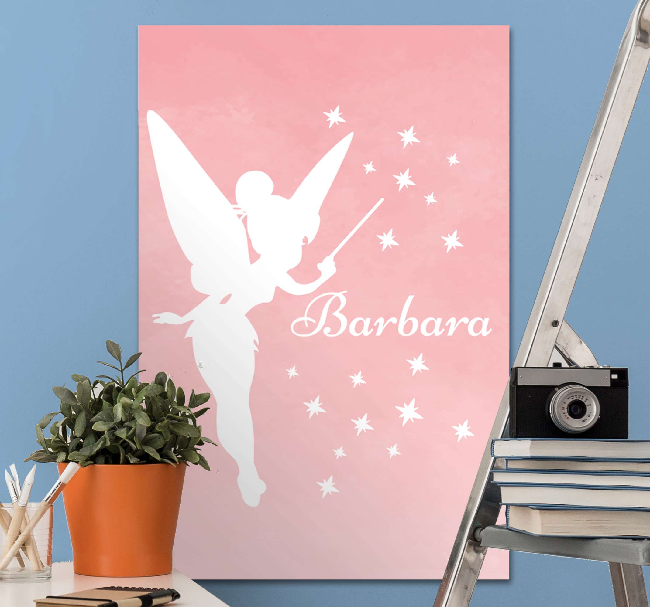 TenStickers. Customizable name fairy canvas prints. Personalized name fairy canvas art. Lovely canvas for baby girl's nursery or room, provide the name of your kid in the provided field to customize it.
