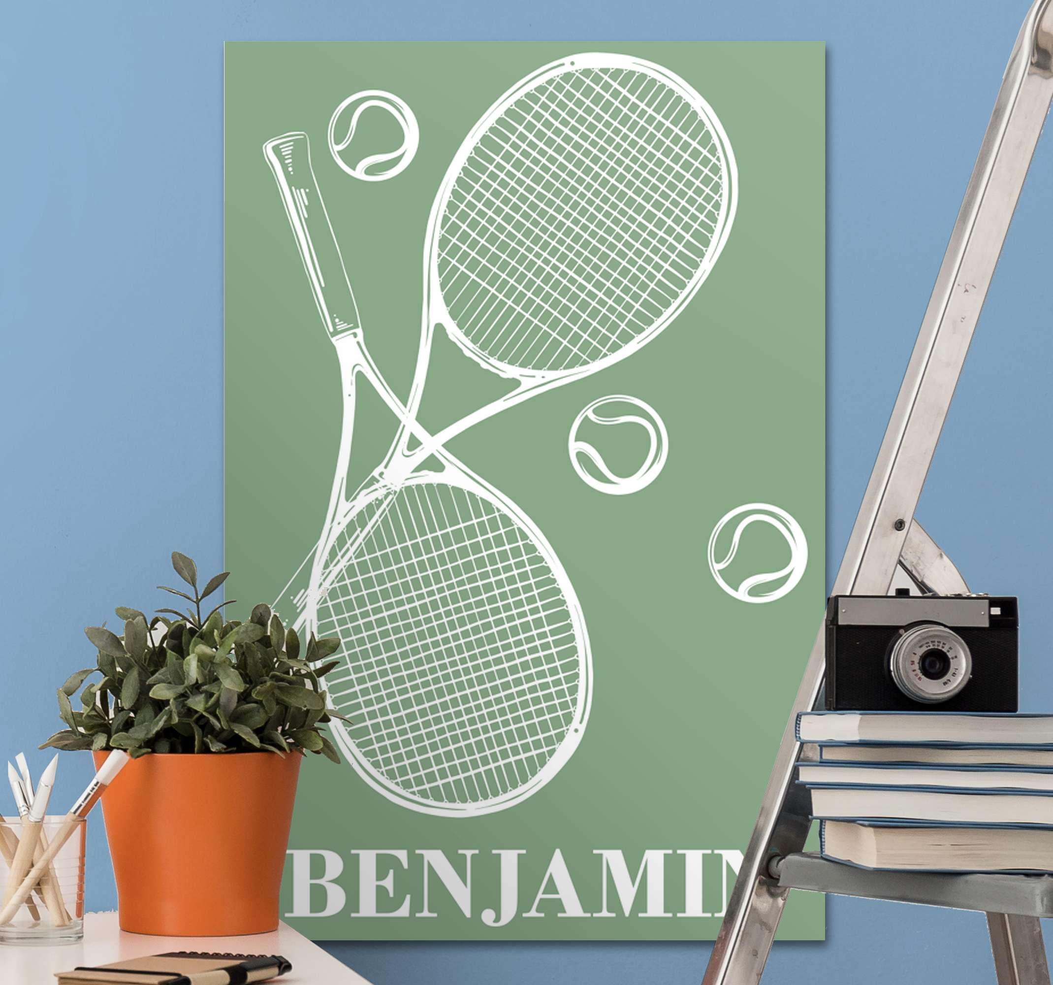 TenStickers. Personalised tennis canvas prints. Personalized tennis canvas for tennis lovers. Beautiful canvas for living room and it can be placed on other areas in a house.
