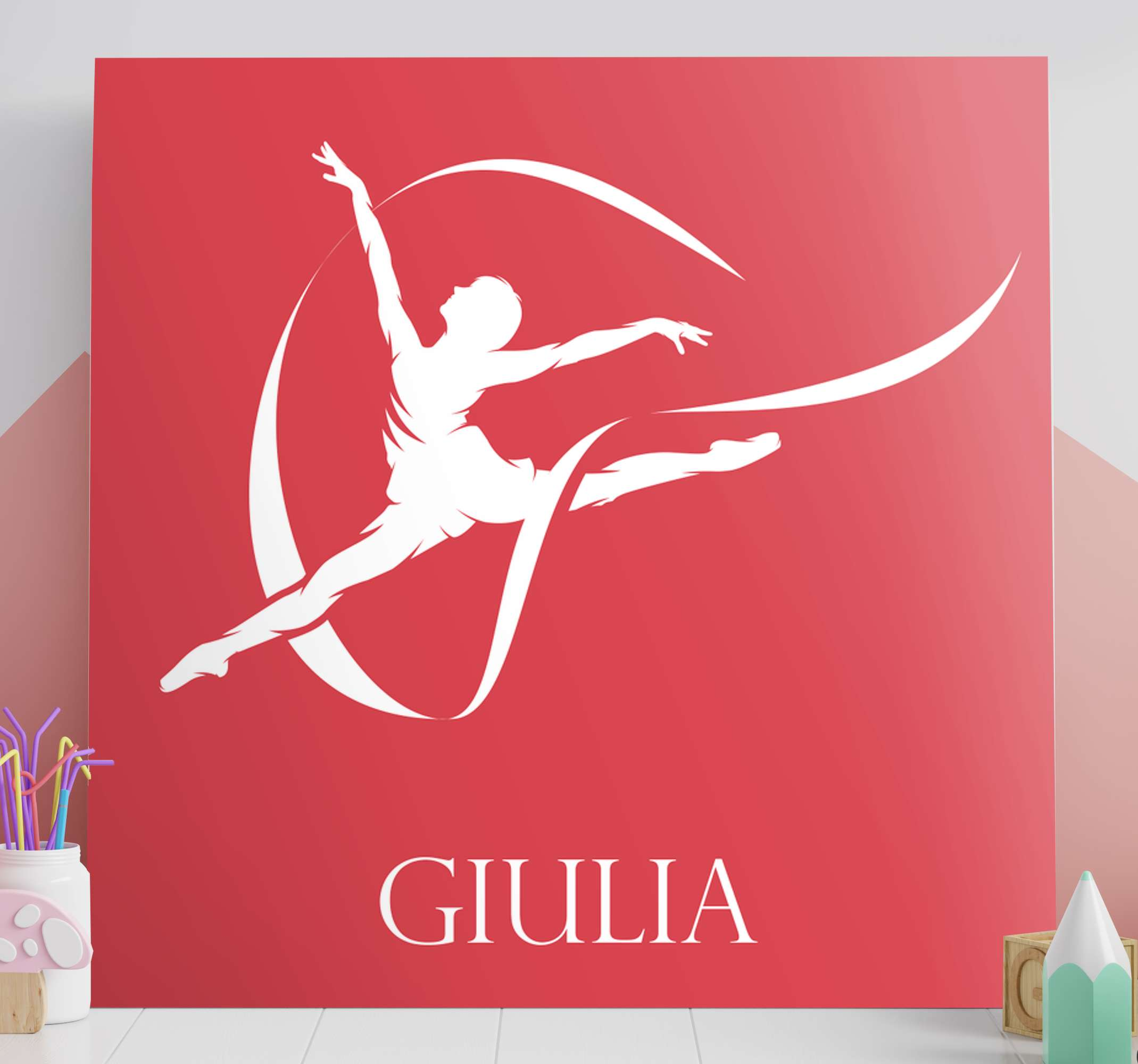 TenStickers. gymnast silhouette  customisable canvas prints. With our personalized gymnast silhouette canvas you can express your passion for gymnastic in our design. Original and made of best quality.