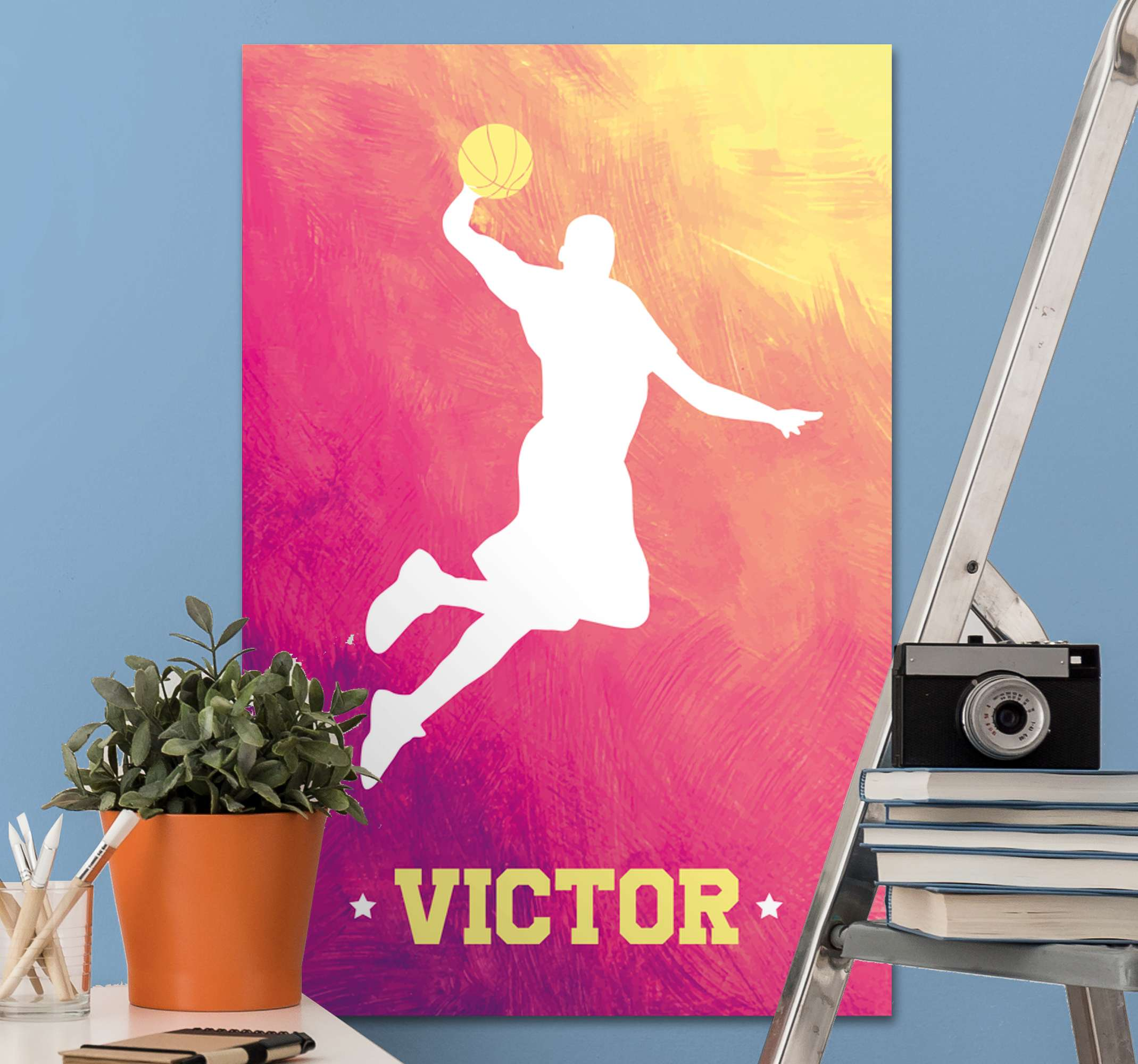 TenStickers. Personalised basketball player customisable canvas prints. Personalize your name on our canvas prints design of a basketball player. It is original and available in any size you want.