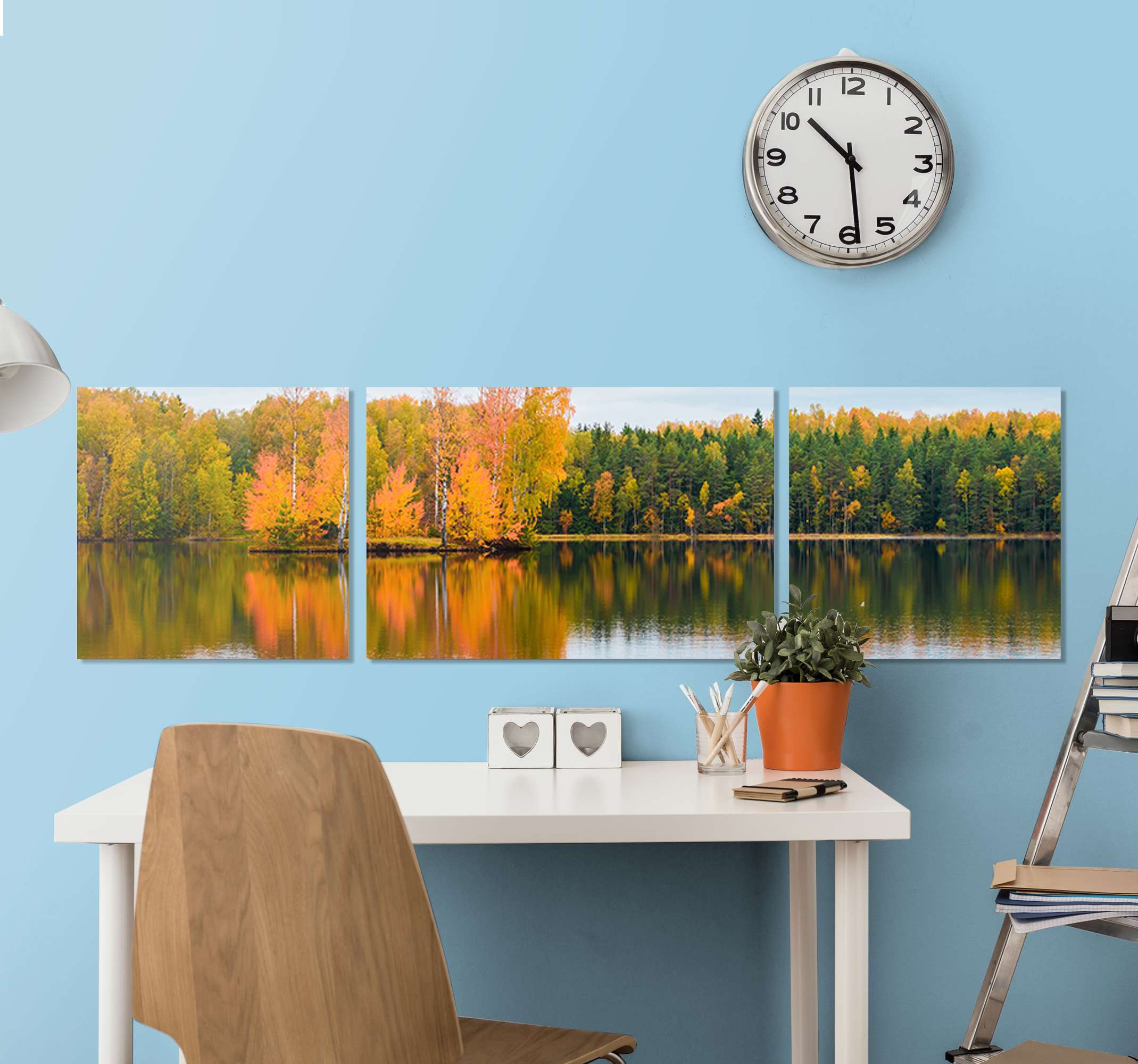 TenStickers. Autumn landscape with lake on canvas. A beautiful landscape canvas wall art with autumn trees and a lake to make everyone amazed when they enter your house. High quality product!