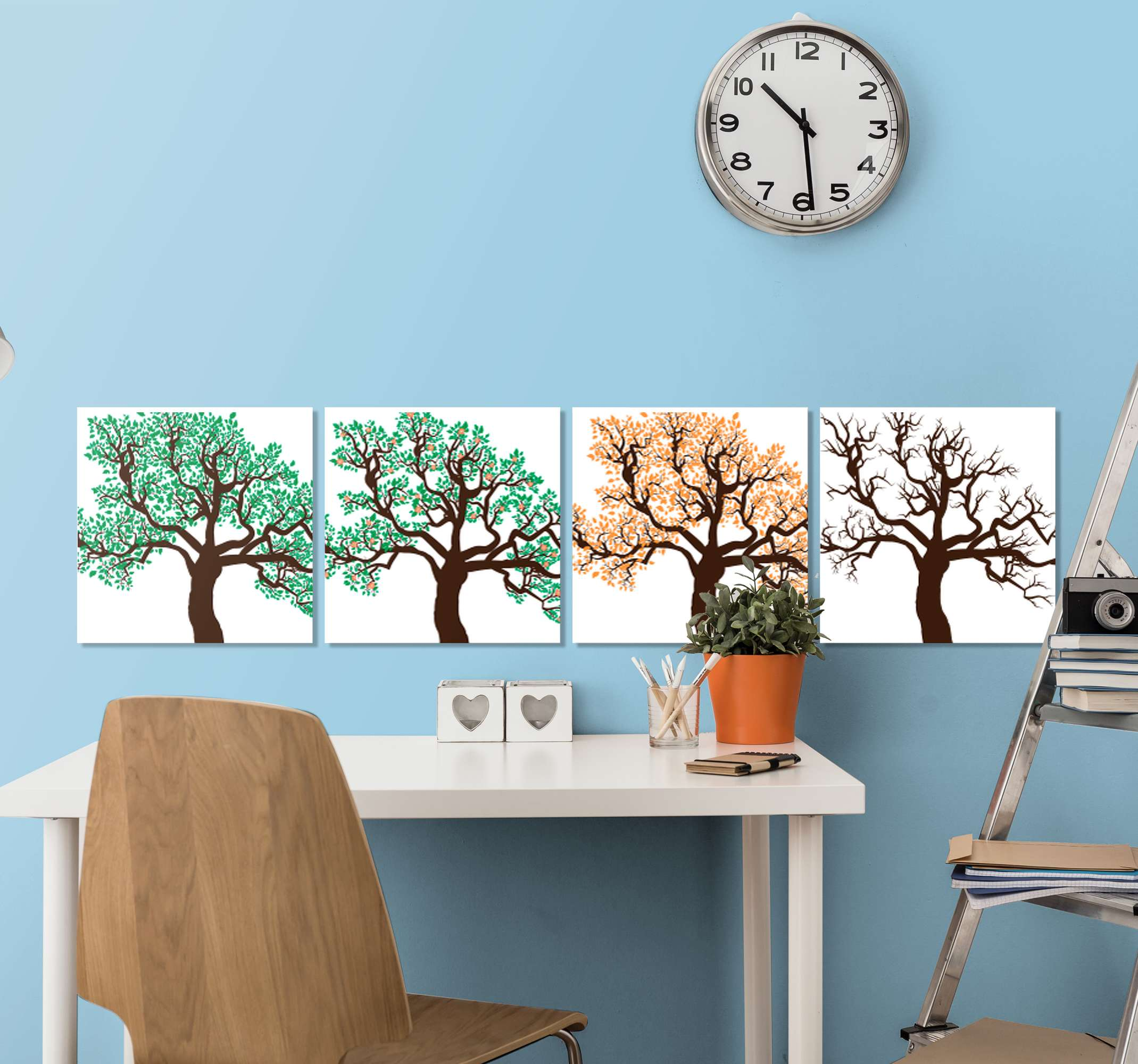 TenStickers. Four seasons landscape  modern art prints on canvas. A beautiful landscape canvas print that will look amazing on your walls! Easy to apply and adds great amounts of character.