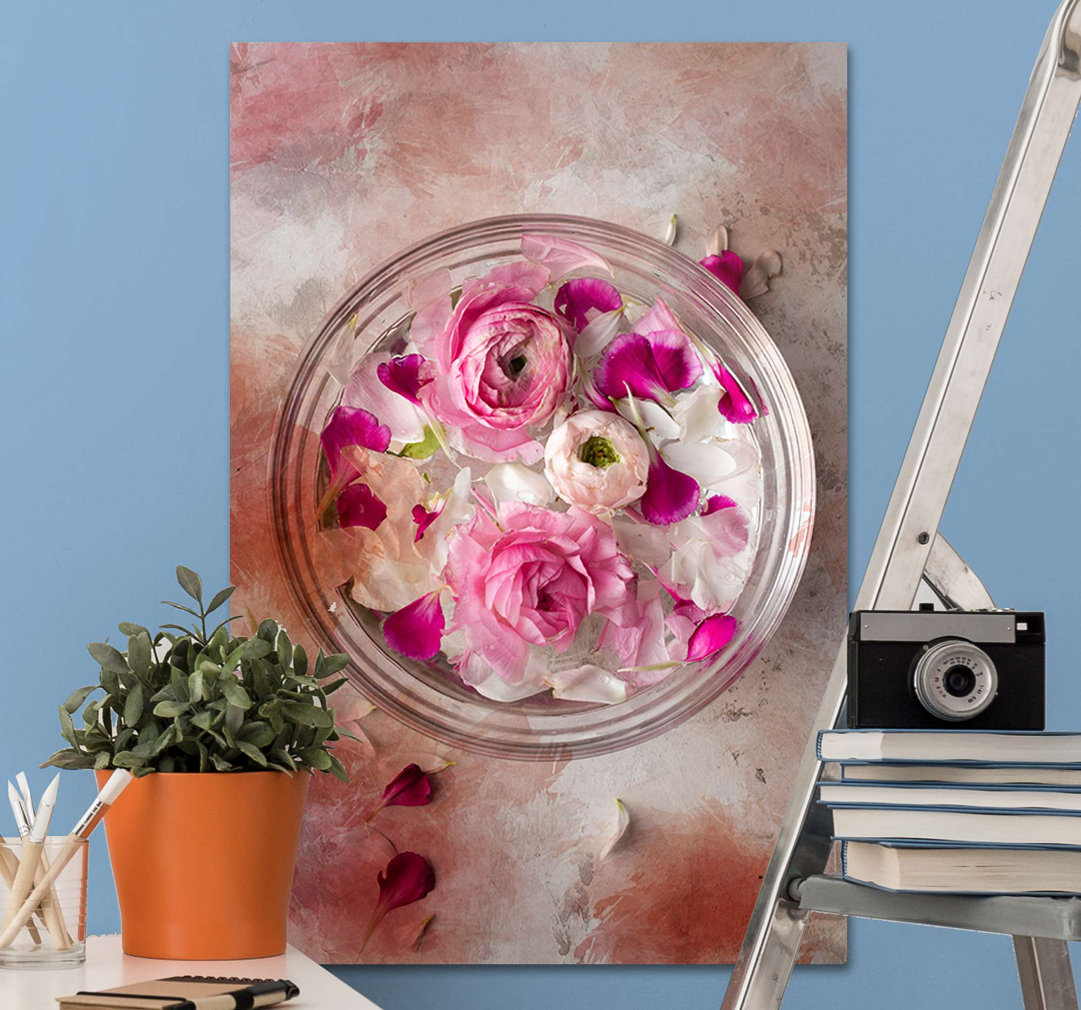 TenStickers. Floral bowl 3D modern art prints on canvas. The most stunning floral converse wall print that will look amazing on any wall in your home. Discounts available on our website.