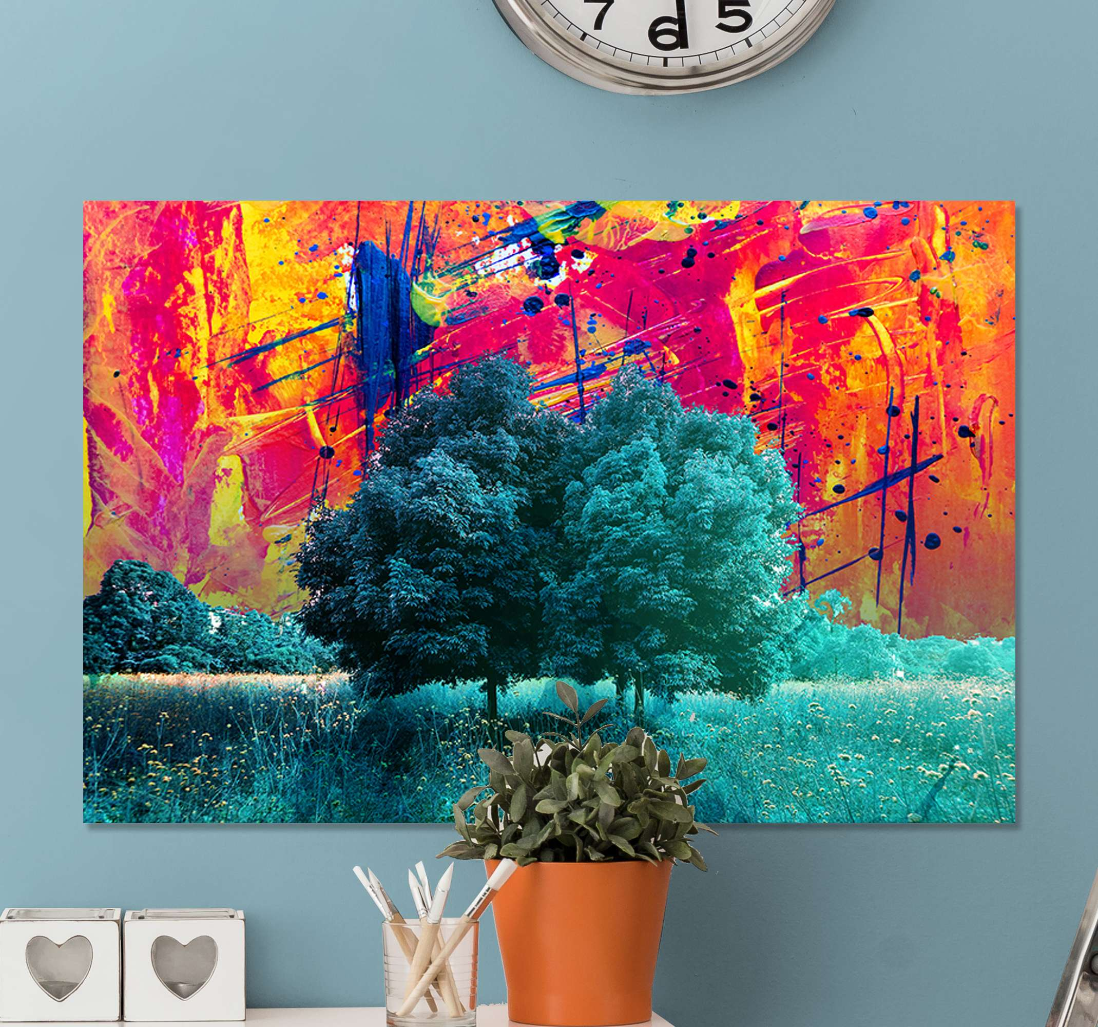 TenStickers. Colorful field landscape with trees modern art prints on canvas. A printed landscape canvas of a grass field with trees. The background is created in a painted splash texture. Original, durable and light in weight.