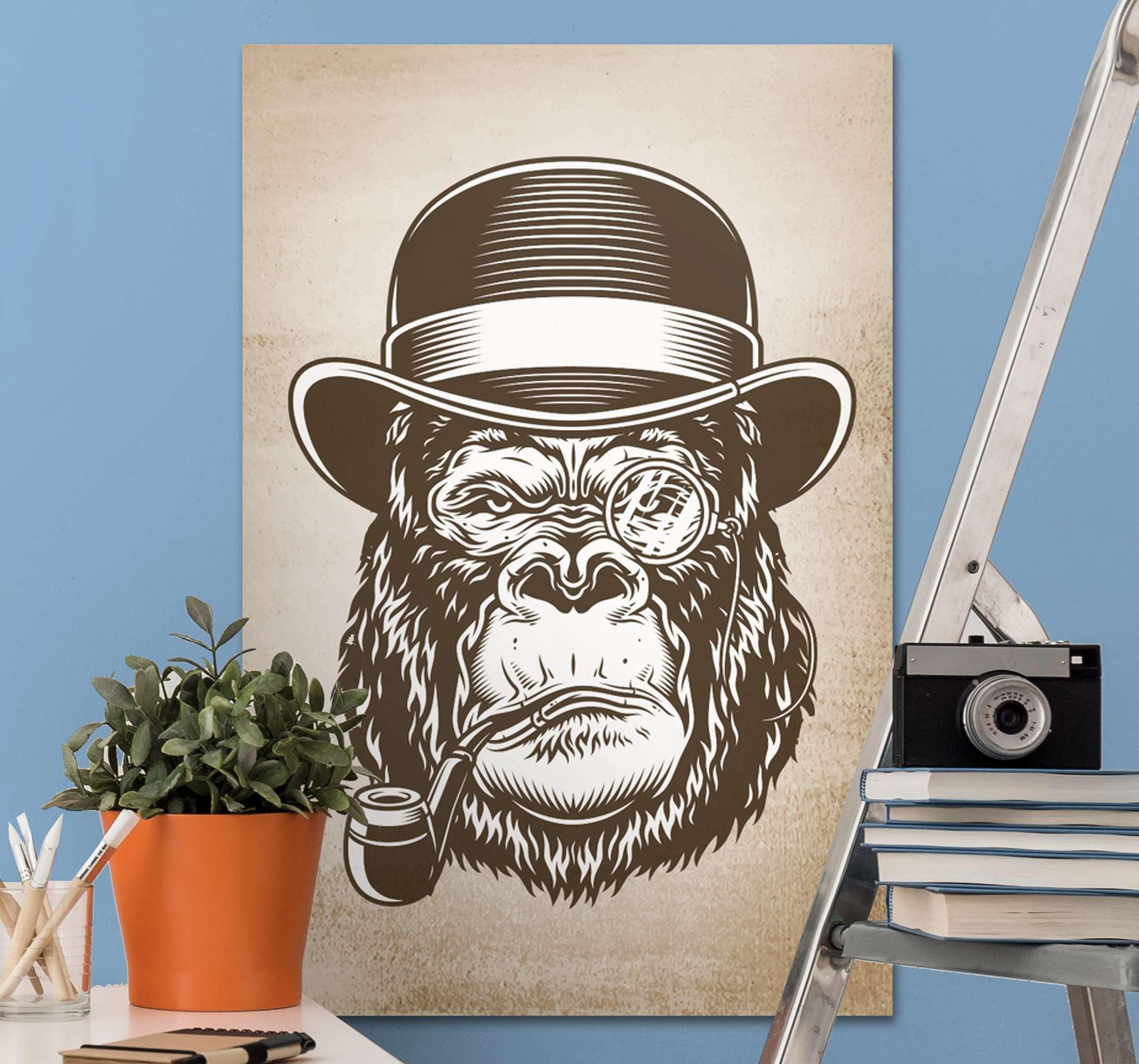 TenStickers. 猴子在画布上吸烟现代艺术版画. 猴子为您的家吸烟现代帆布墙艺术。我们的高品质家用帆布印花可为您的空间增添艺术气息。
