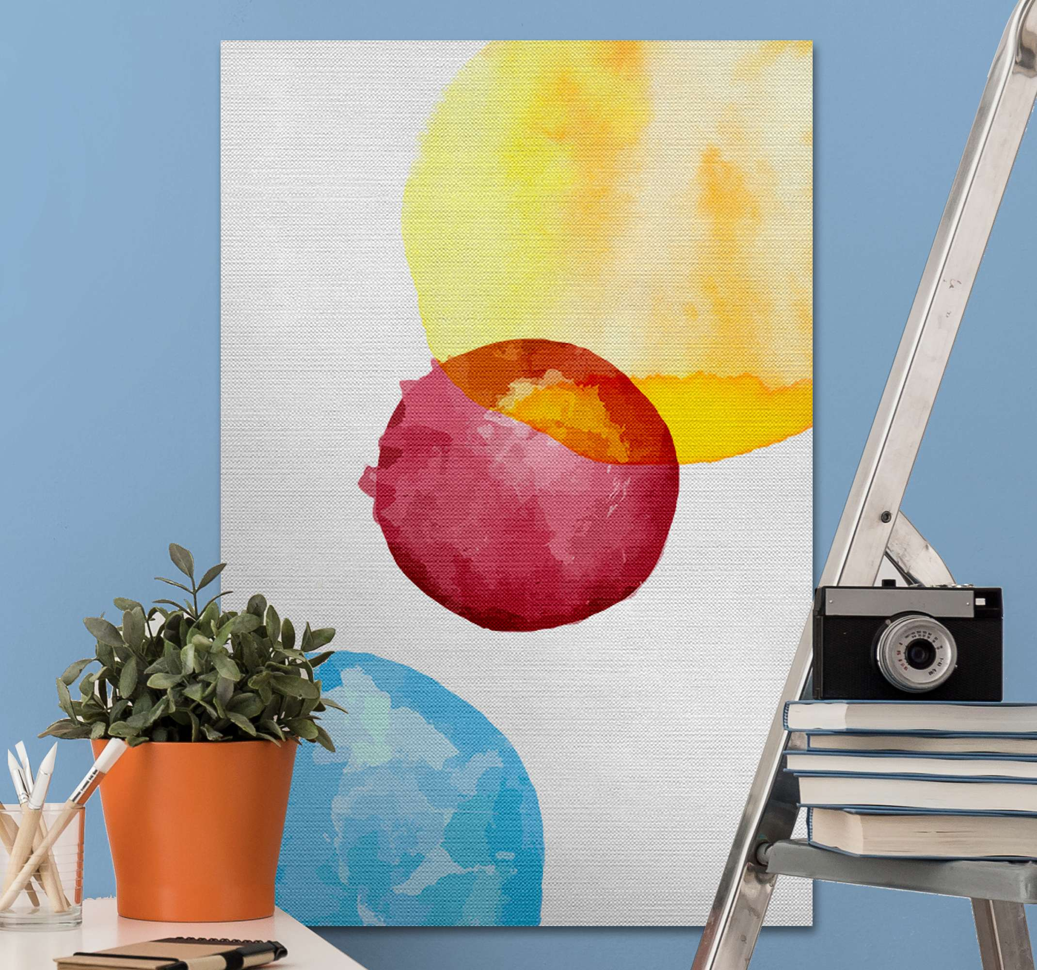TenStickers. Three colorful circles  canvas art. Three colorful circles canvas art prints to decorate your home. This design can be placed anywhere in a house or on other spaces of your choice.